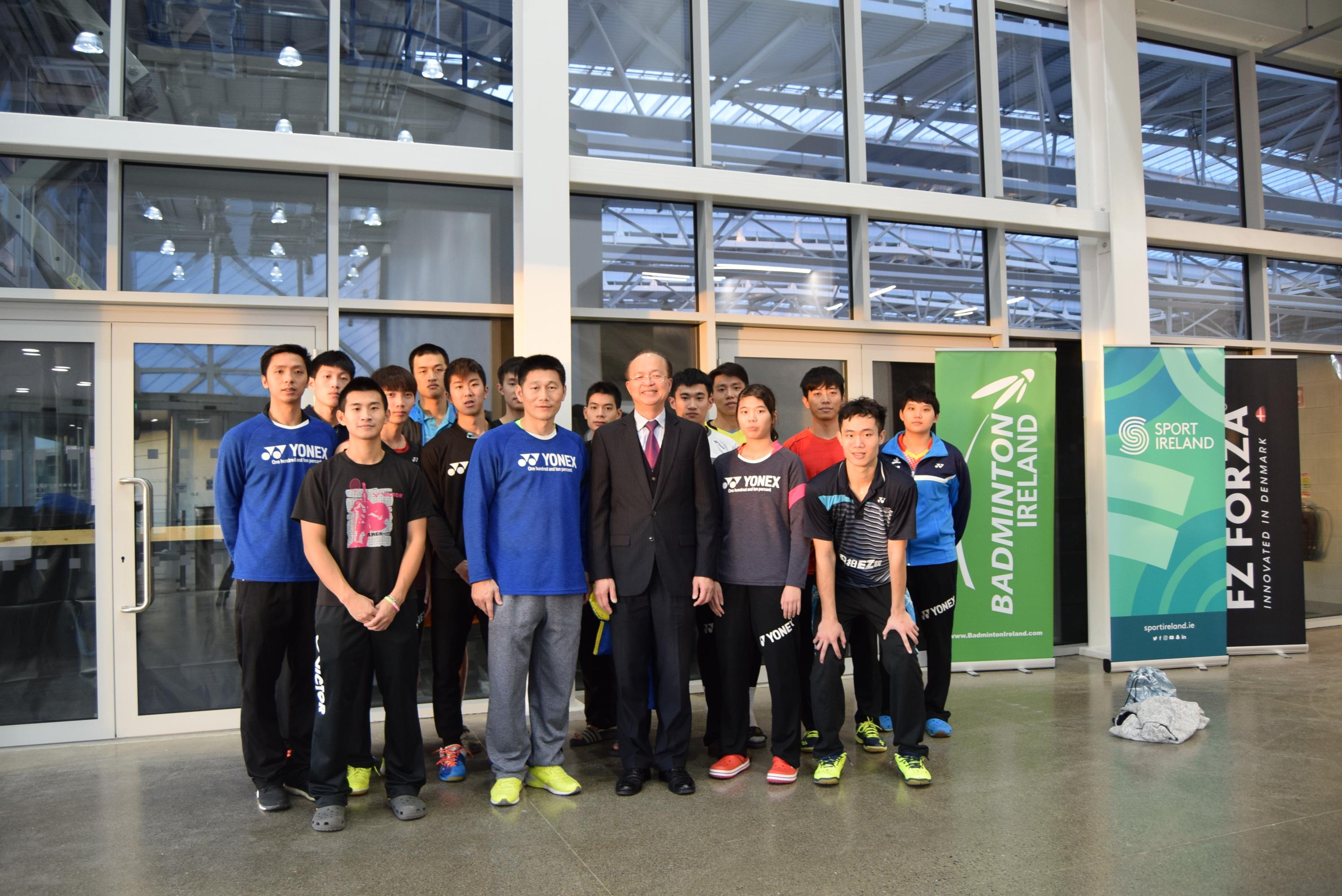 Representative Tu attends the Irish National Sports Center tocheer on our badminton players